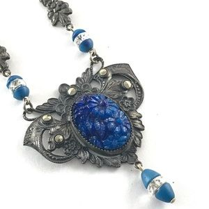 Art Deco Necklace Blue Flower Vintage Jewelry